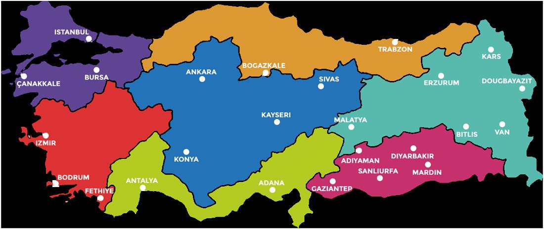 Cities of Turkey map
